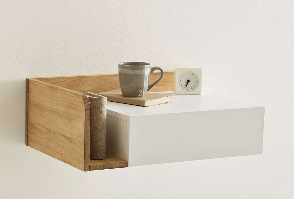 10 easy pieces wall mounted bedside shelves with drawers remodelista - Table chevet la redoute ...