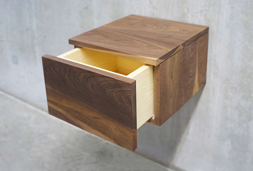 Solid Wood Limited in Toronto, the Black Walnut Floating Nightstand ...