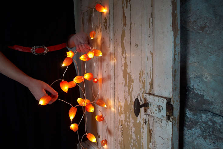 LED orange string lights can produce a twinkly fall effect. Just remember that string lights hung low can snag the antlers of adult male deer, so avoid stringing lights where they travel through. These Japanese lantern string lights by artist Juliane Solvång are made with the papery orange husks of Physalis alkekengi. No plastic! For instructions, see DIY: Pumpkin Lights Without the Plastic. Photograph by Juliane Solvång.