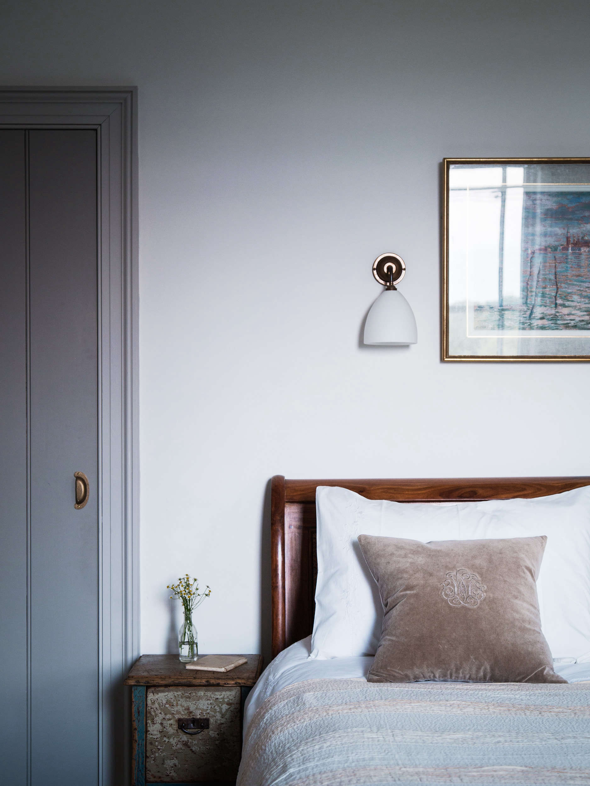 Bedroom in Blue Dorset House by Mark Lewis, Photo by Rory Gardiner