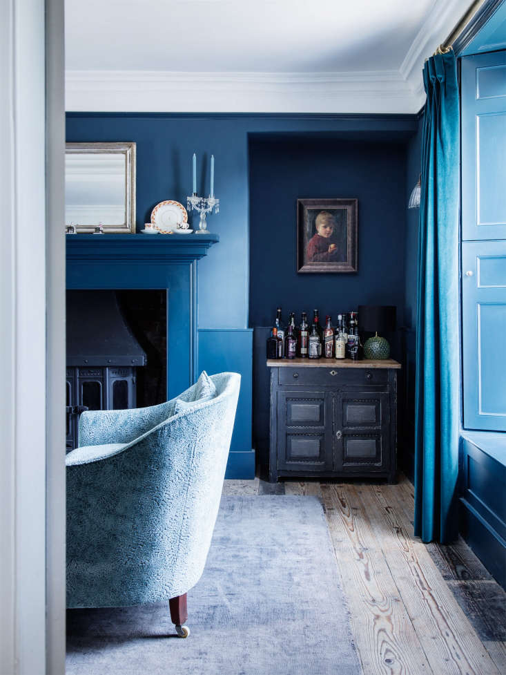 an all blue room calls for blue tapers, too. photograph by rory gardiner from b 22