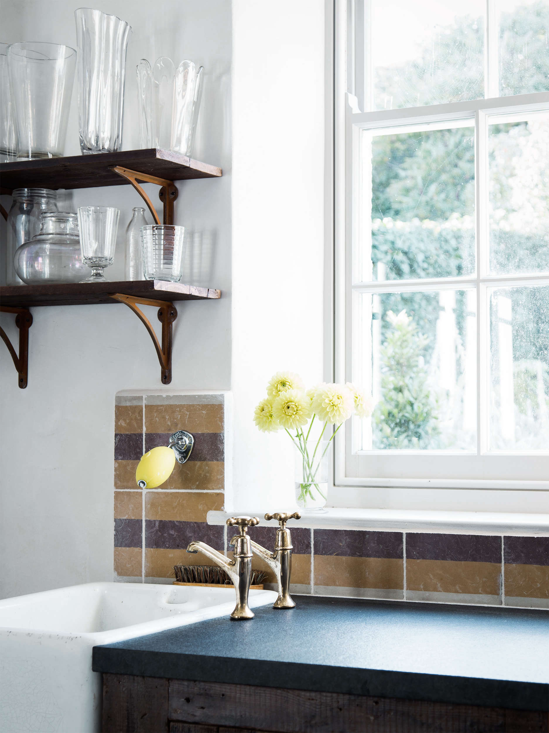 Utility Room Sink in Blue Dorset House by Mark Lewis, Photo by Rory Gardiner