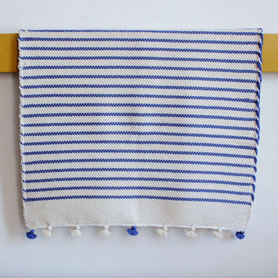 Moroccan Bath Mat Blue Stripe Remodelista