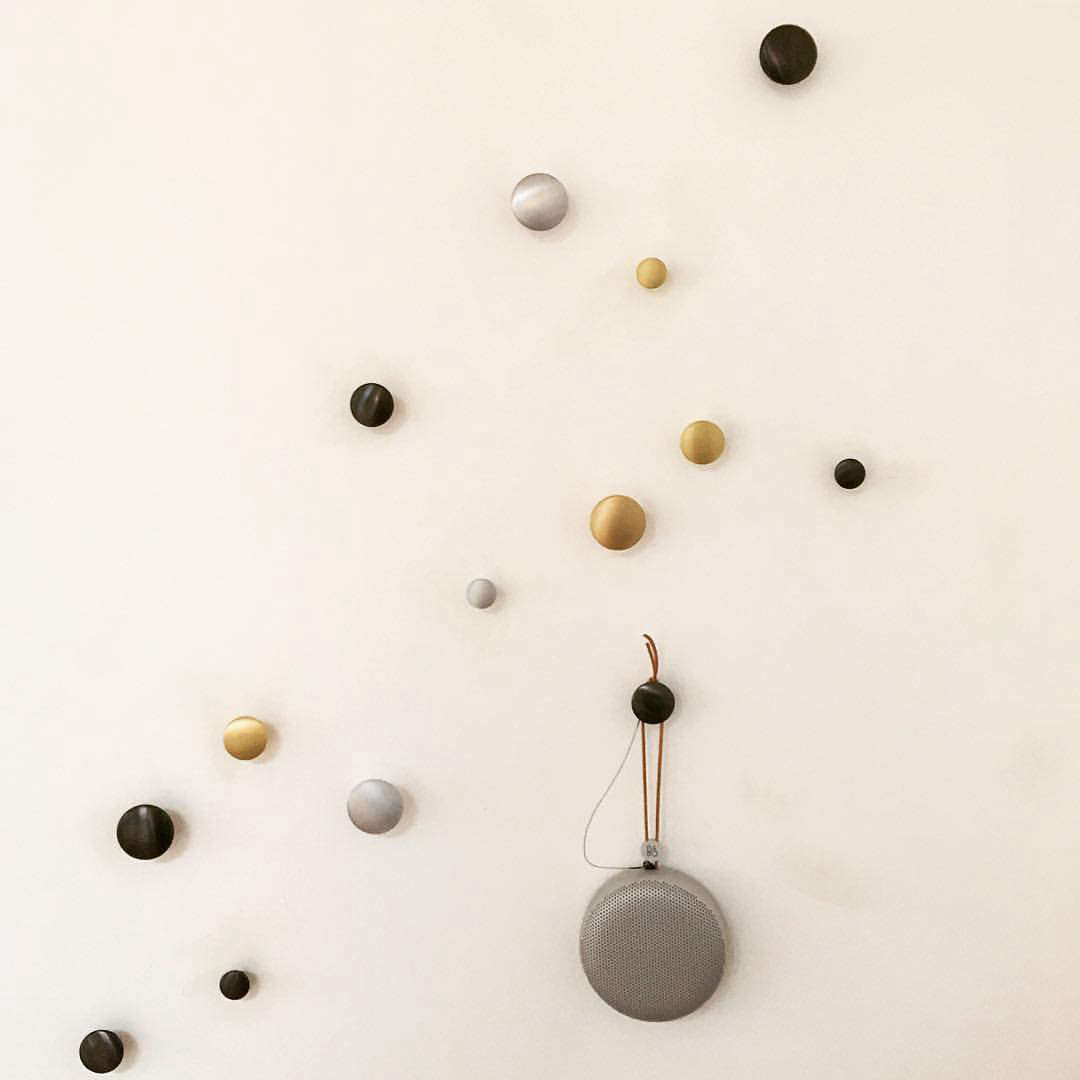 the iconic muuto dot coat hooks now in metal remodelista. Black Bedroom Furniture Sets. Home Design Ideas