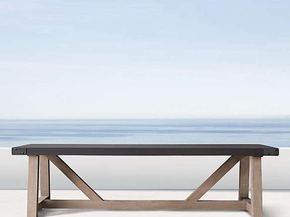 French Beam Concrete Teak Rectangular, Concrete Top Patio Table