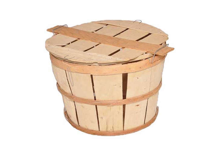wood crab bushel basket with lid