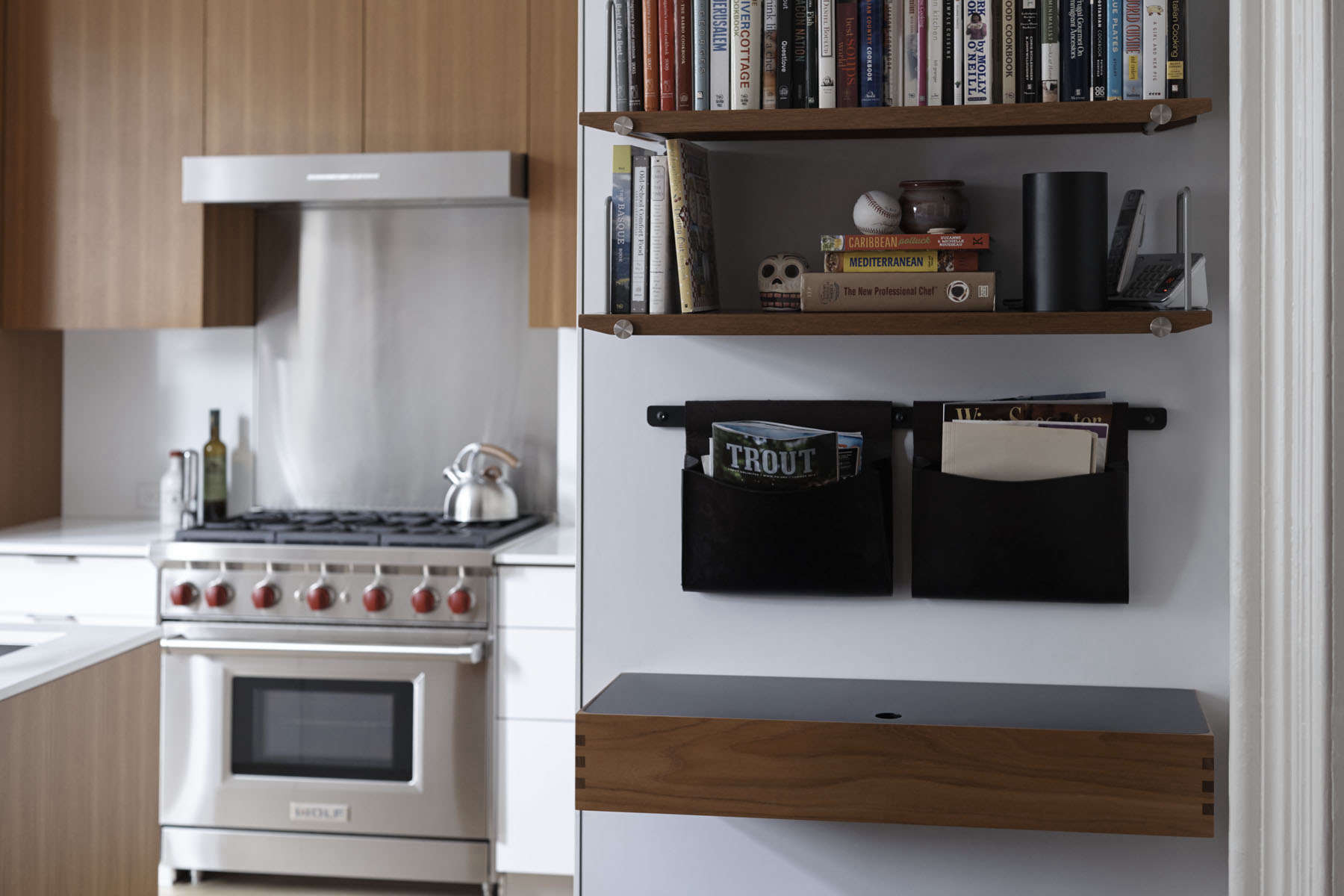henrybuilt opencase shelves leather hanging pouches and a wall desk in a brooklyn kitchen. Interior Design Ideas. Home Design Ideas