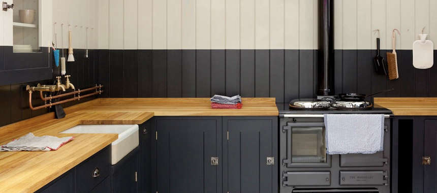 Black Kitchen With Butcher Block