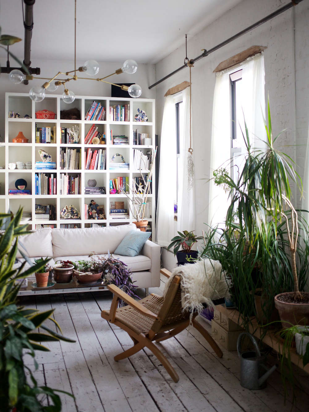 Brooklyn Loft With White Painted Floors And Bookcase Houseplants
