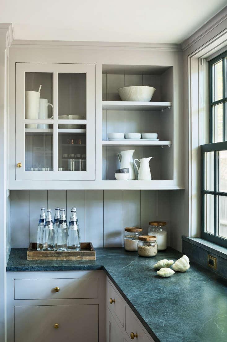 modern farmhouse kitchen renovation light gray cabinets with open shelf glass f 216