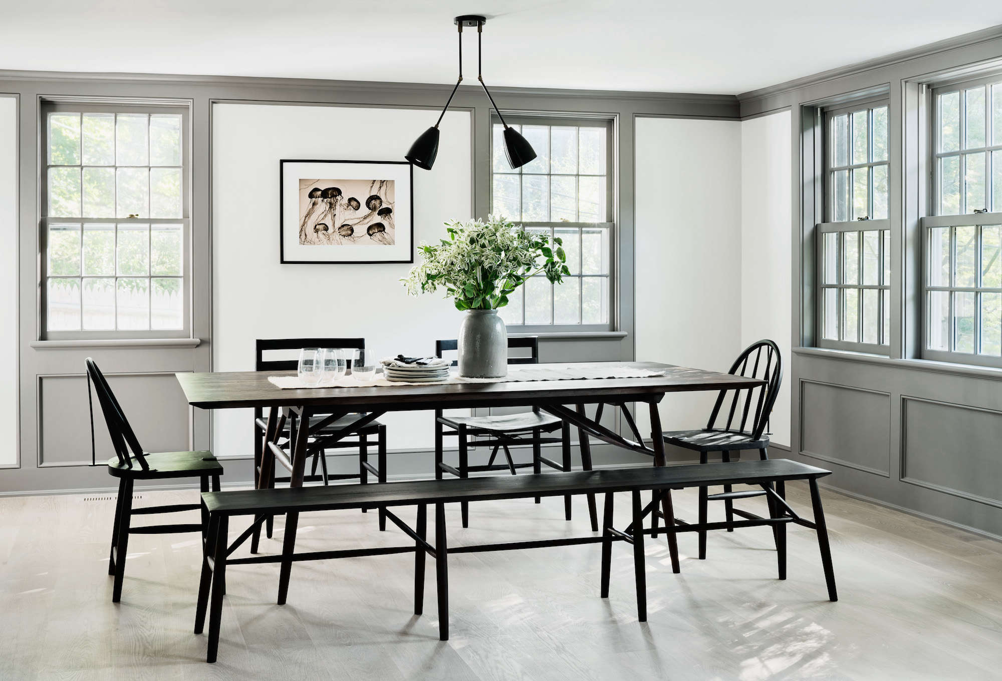 Delightful Modern Farmhouse Renovation Dining Room Black Sawkille Furniture