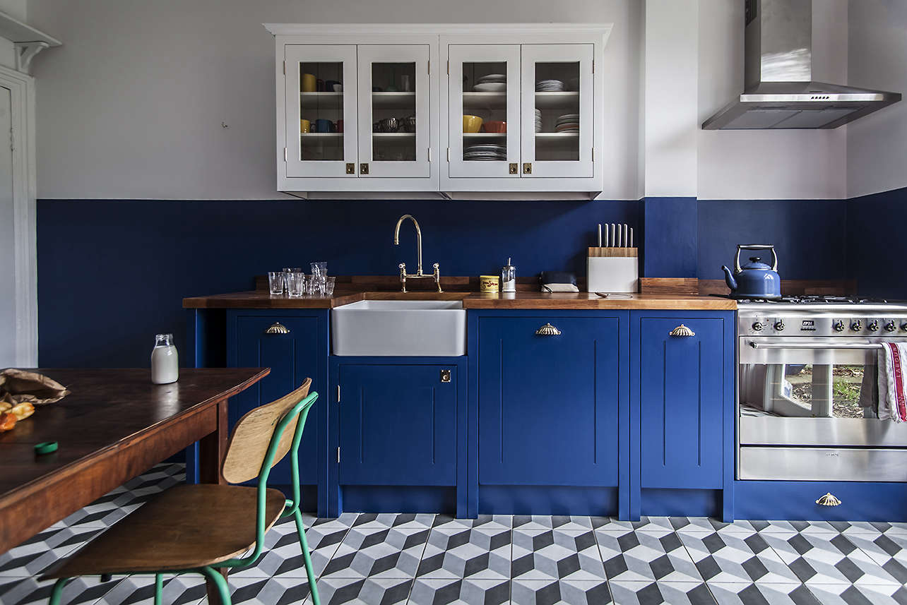 Amazing Blue Kitchen Part - 12: Kitchen Of The Week: A Brightly Colored (and Cost Conscious) London Kitchen  - Remodelista