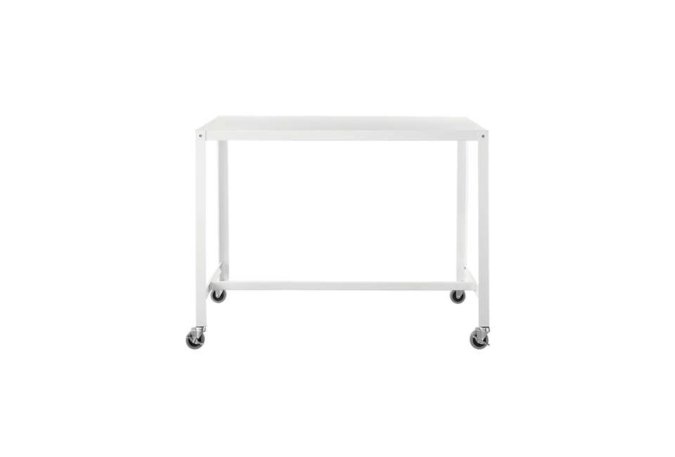 Above: The Go Cart White Rolling Counter Table Stand Up Desk Is A Counter  Height Version Of The CB2 Table Shown Above; $179 At CB2.