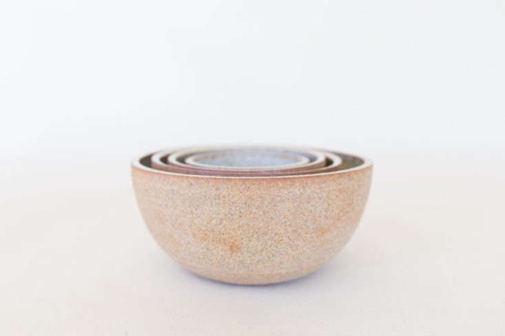 julie cloutier&#8\2\17;s hand thrown nest of four is all about texture. the 14