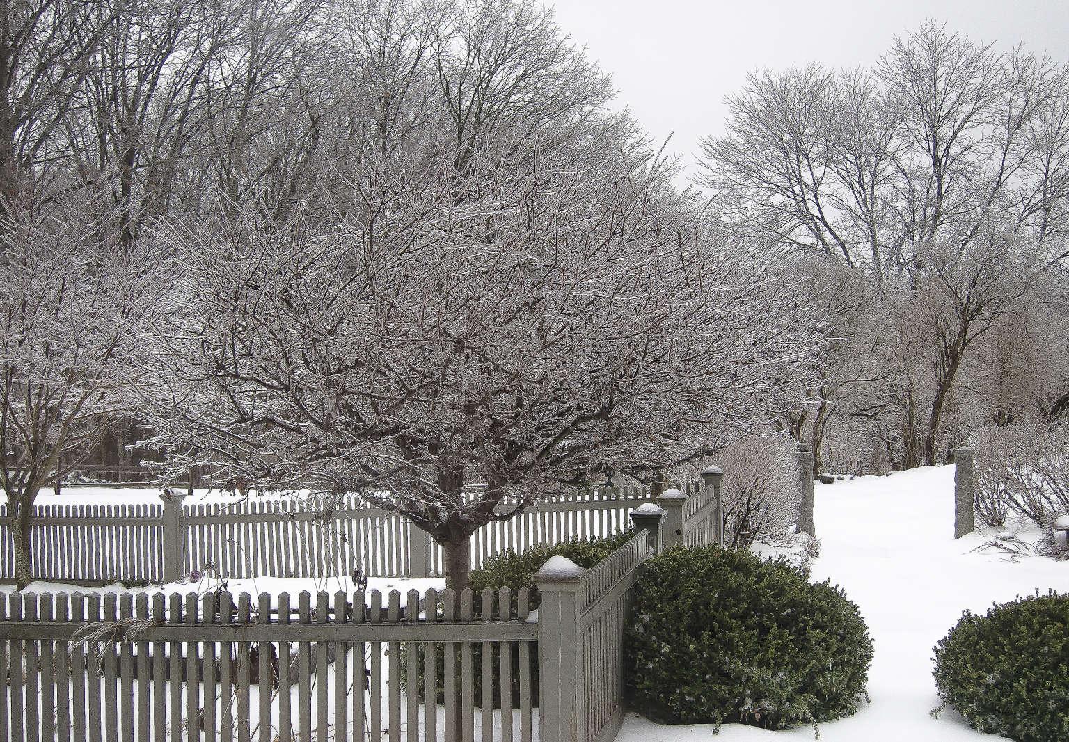 juniper hill winter garden picket fence snow joseph valentine 11