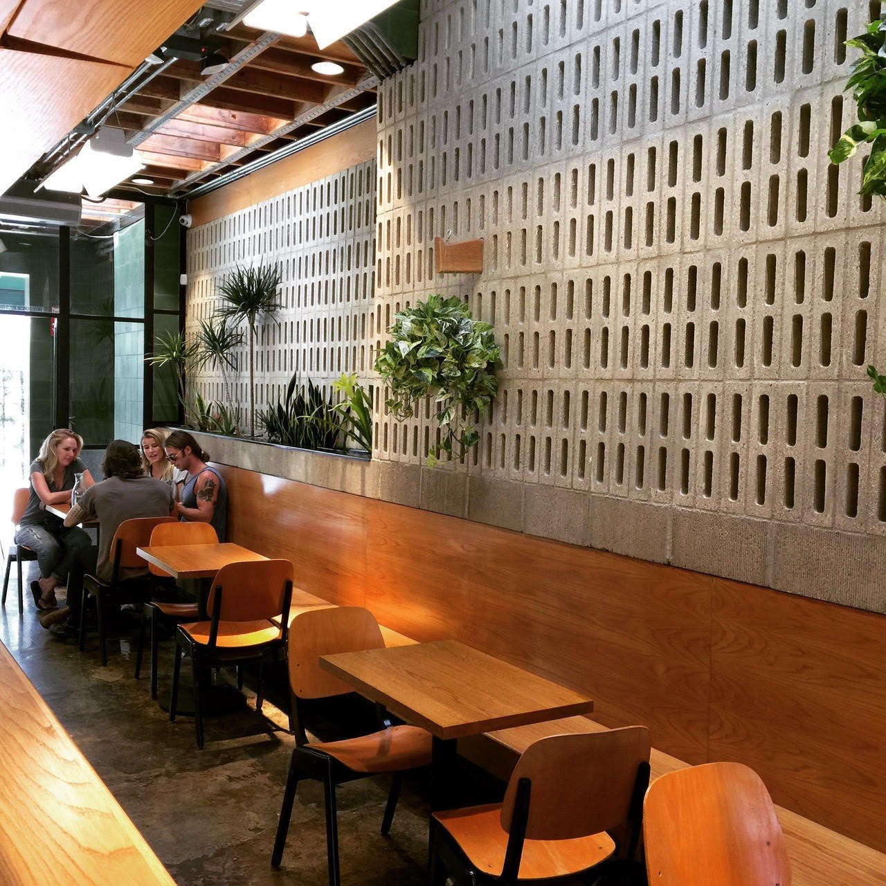 ceiling shelving ideas - Restaurant Visit Concrete and Green at an Australian Cafe