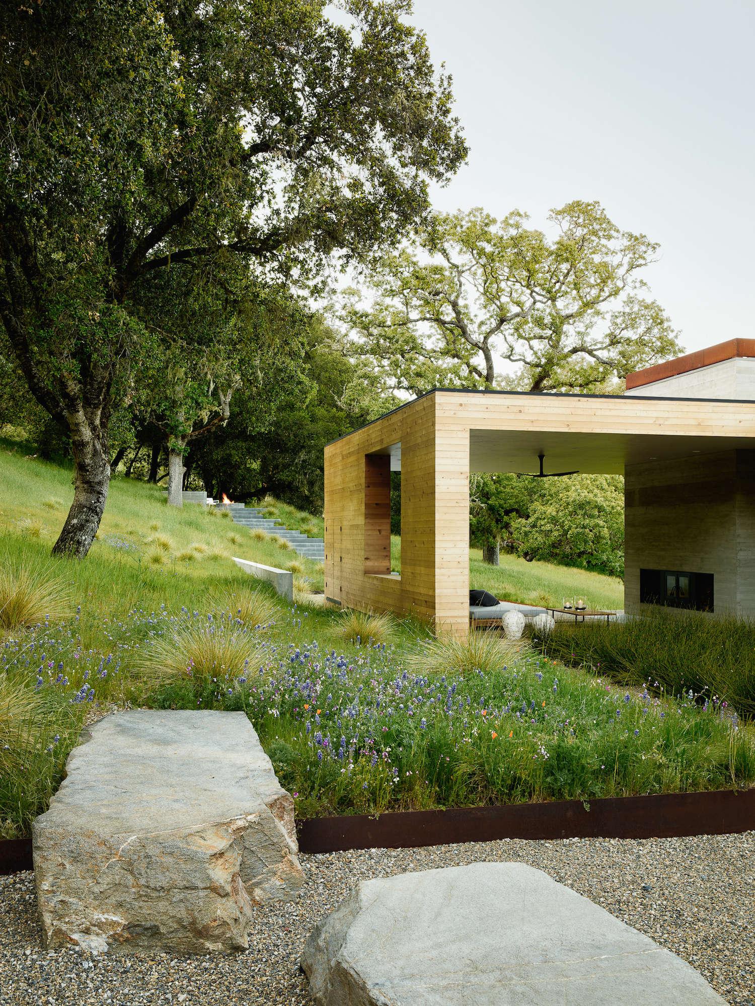 Carmel-Valley-Landscape-wildflowers-stone-corten-Garden-Piechota