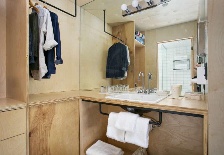 Coachman hotel tahoe plywood vanity bathroom