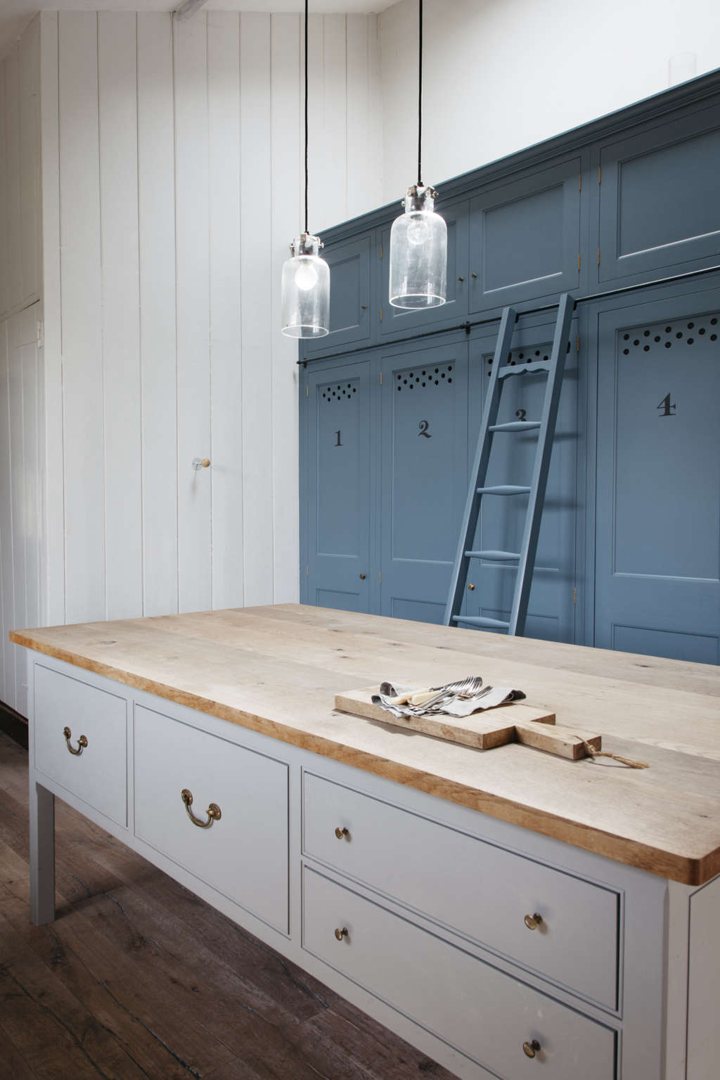 Numbered Blue Kitchen Cabinets And A Roilling Ladder In A Dorset Farmhouse  Kitchen By Plain English Part 84