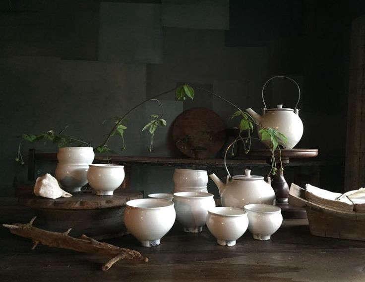 Japanese white-glazed ceramic tea set at Stardust, Kana Shimizu's boutique and cafe in Kyoto