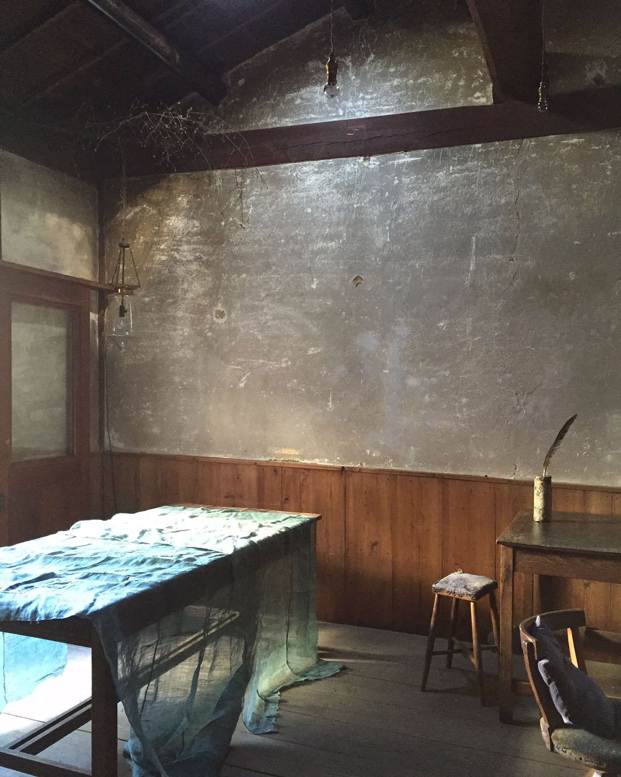 Japanese antique indigo linen at Stardust boutique-cafe in Kyoto
