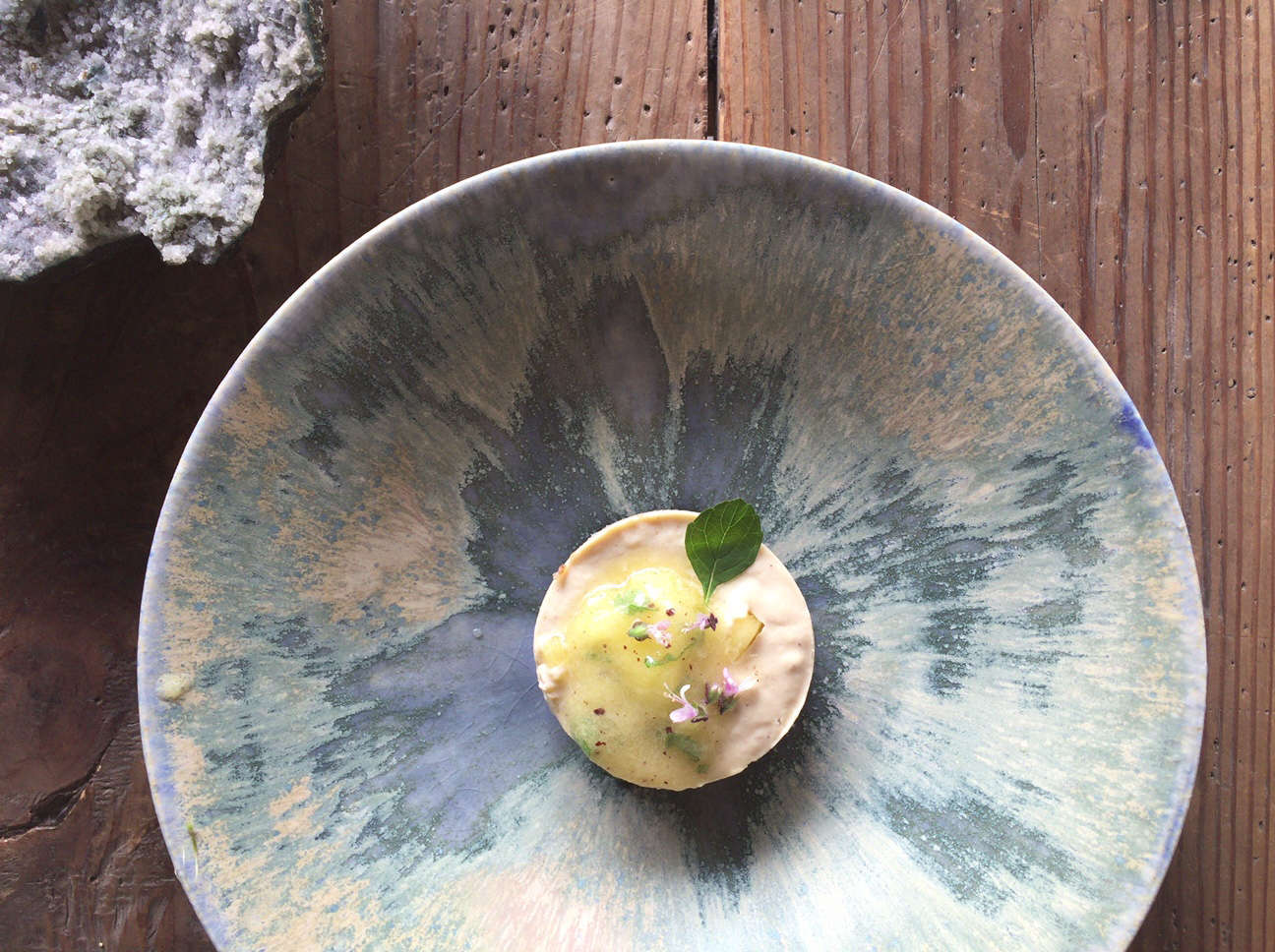 Japanese ceramic bowl by Shinsaku Nakazono at Stardust vegetarian cafe in Kyoto