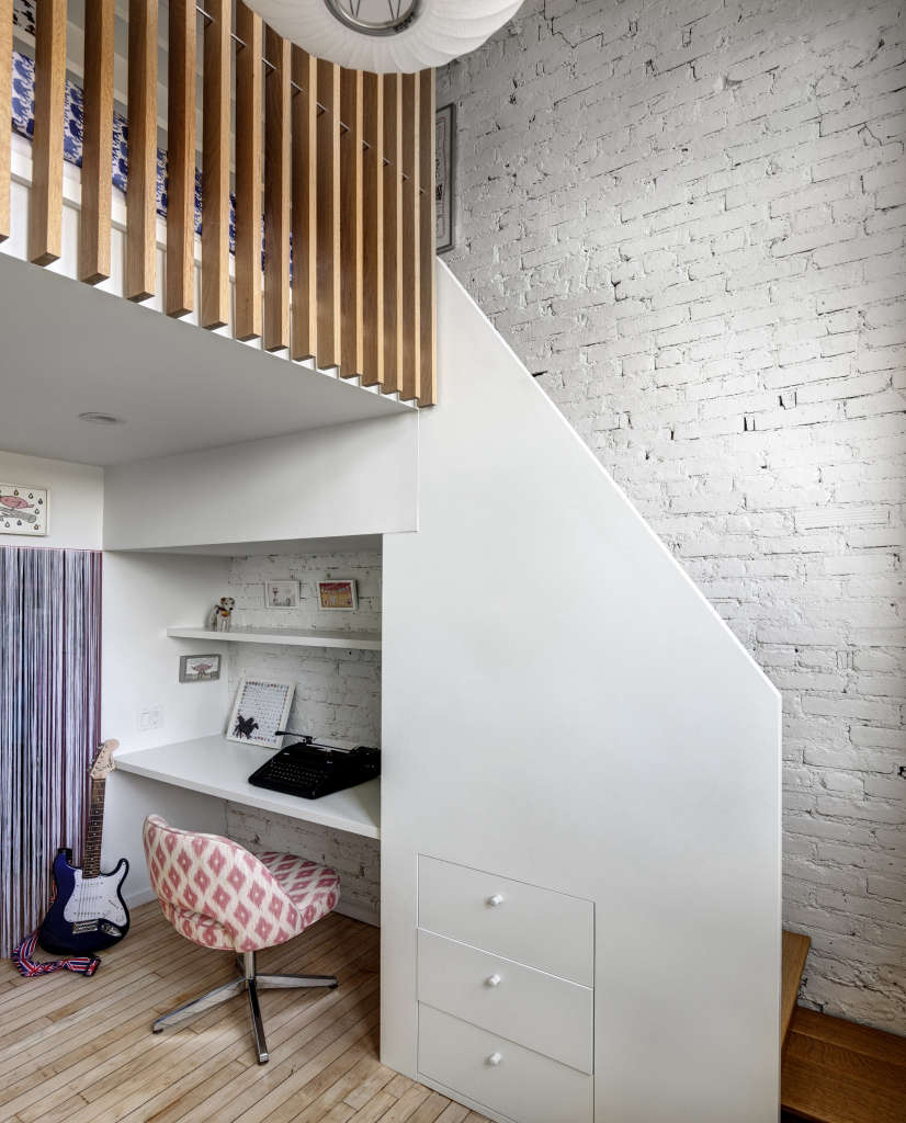 Jennifer Hanlin Cobble Hill Apartment Mia Bedroom Nook, Photo by Bruce Buck