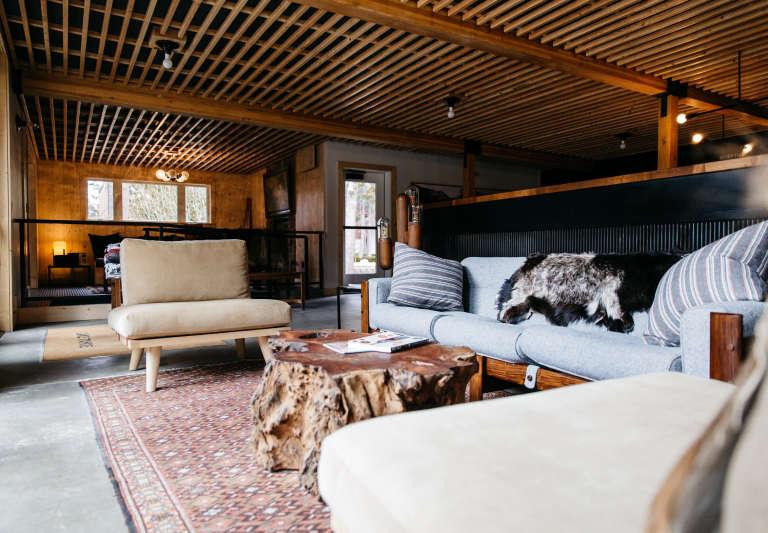lobby communal area wood coffee table ceilings