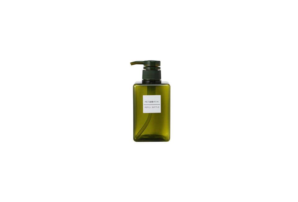 Muji PET Rectangular Pump Bottle in Olive Green