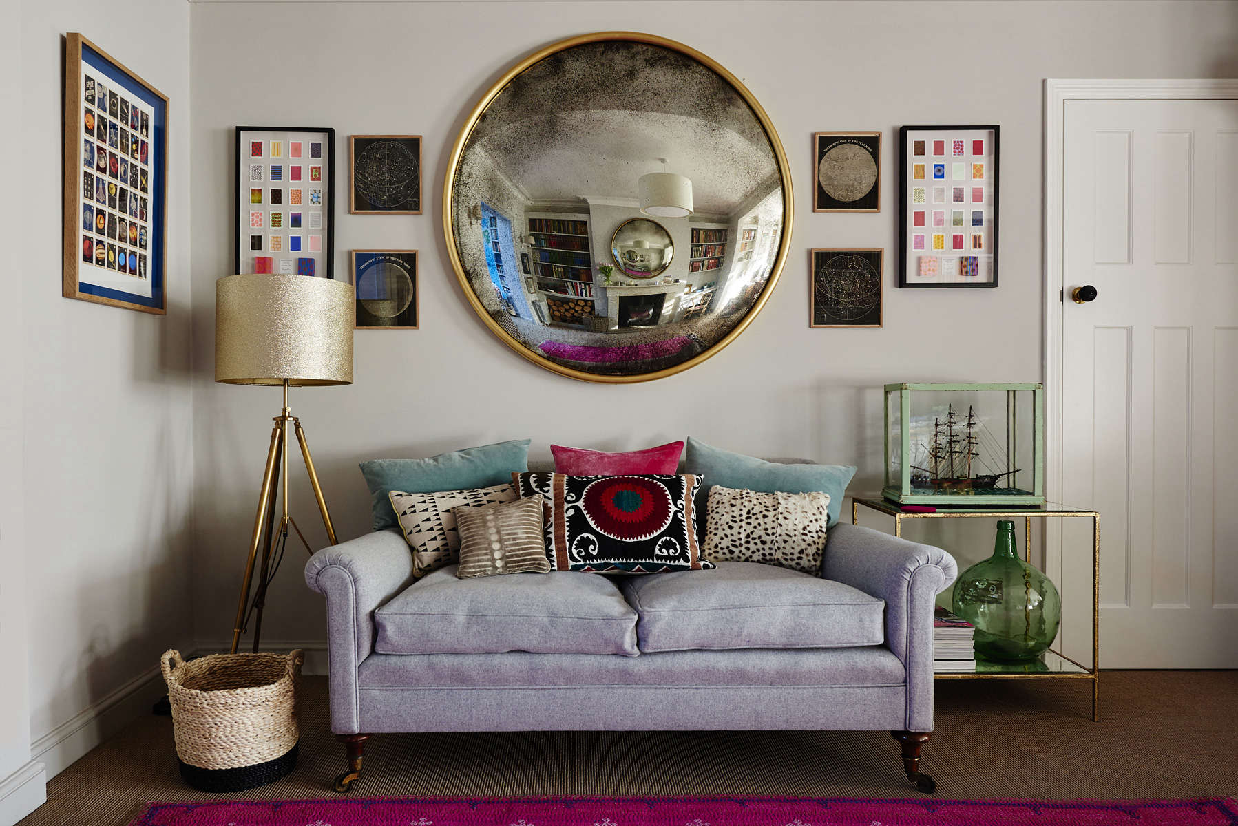 Reid and Wright Mirror with Orb Frame Antique Gold Finish Convex Glass