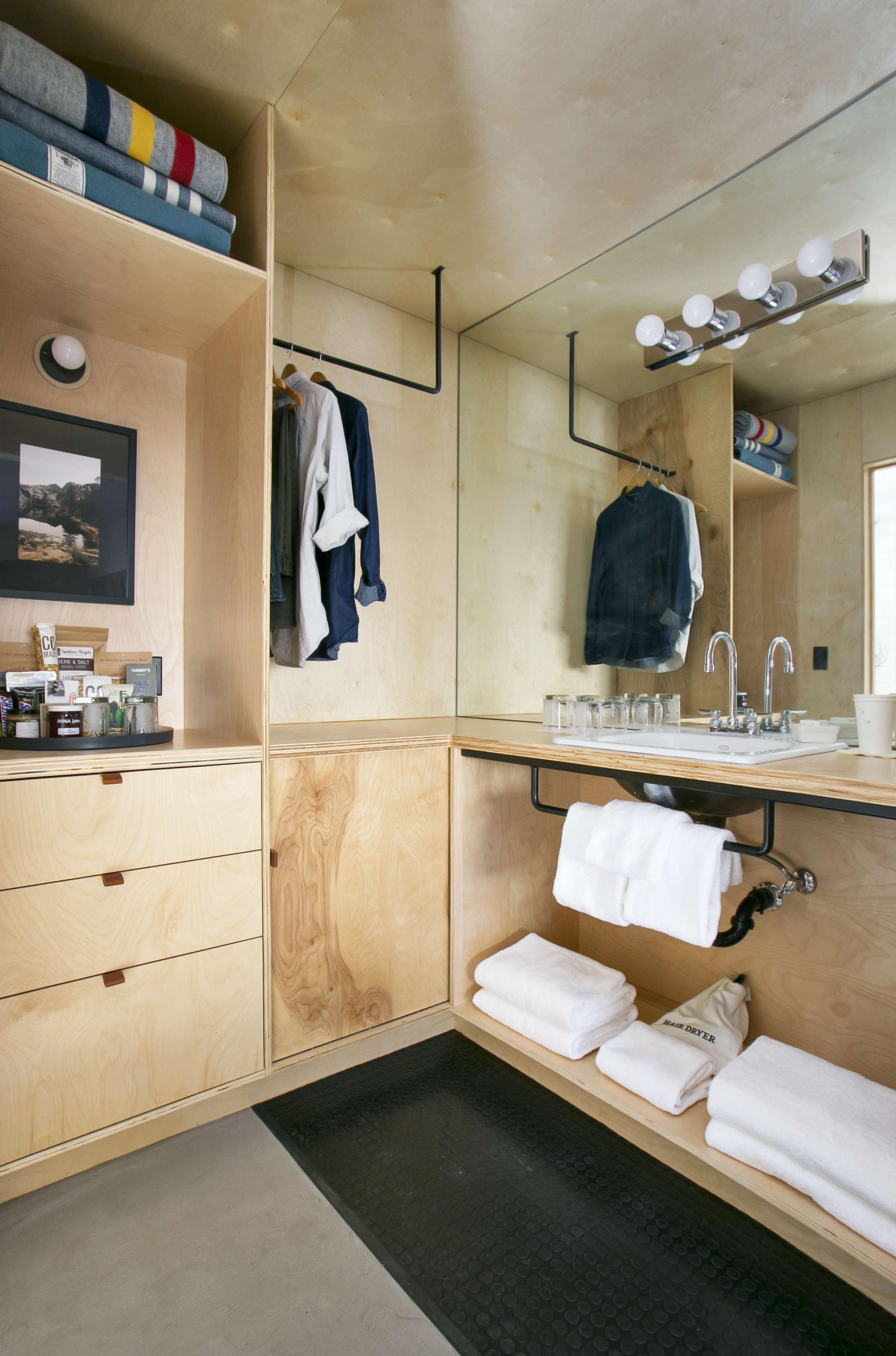 Plywood for bathroom floor - Valet Bathroom Plywood Coachman Hotel Tahoe