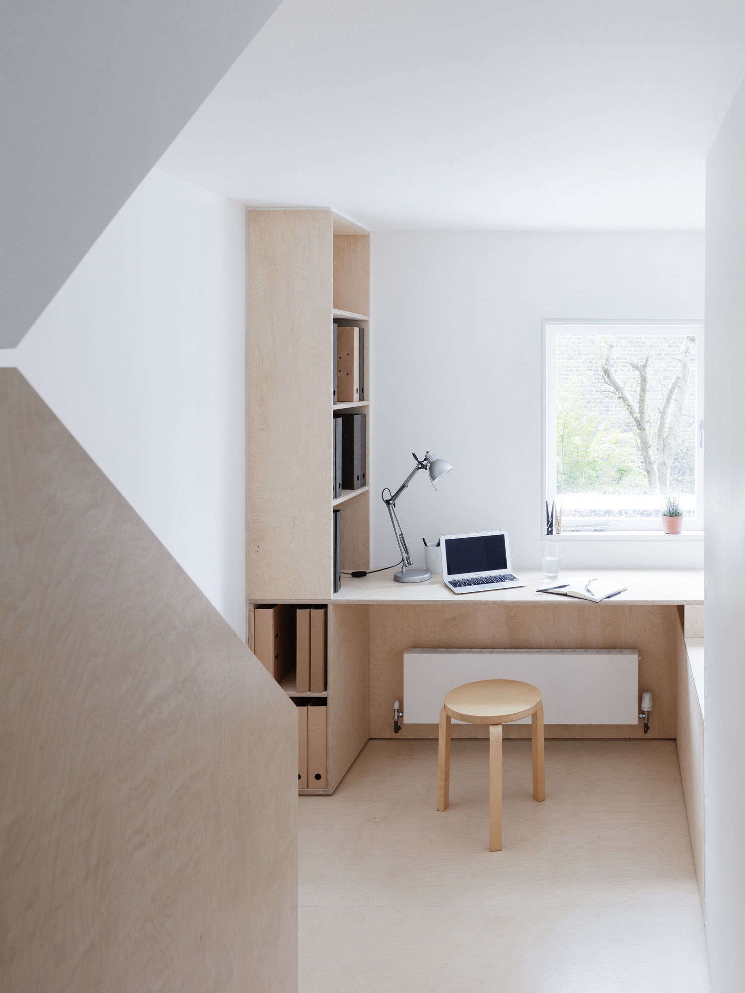 Larissa Johnston Architects Islington maisonette birch plywood desk landing London 8