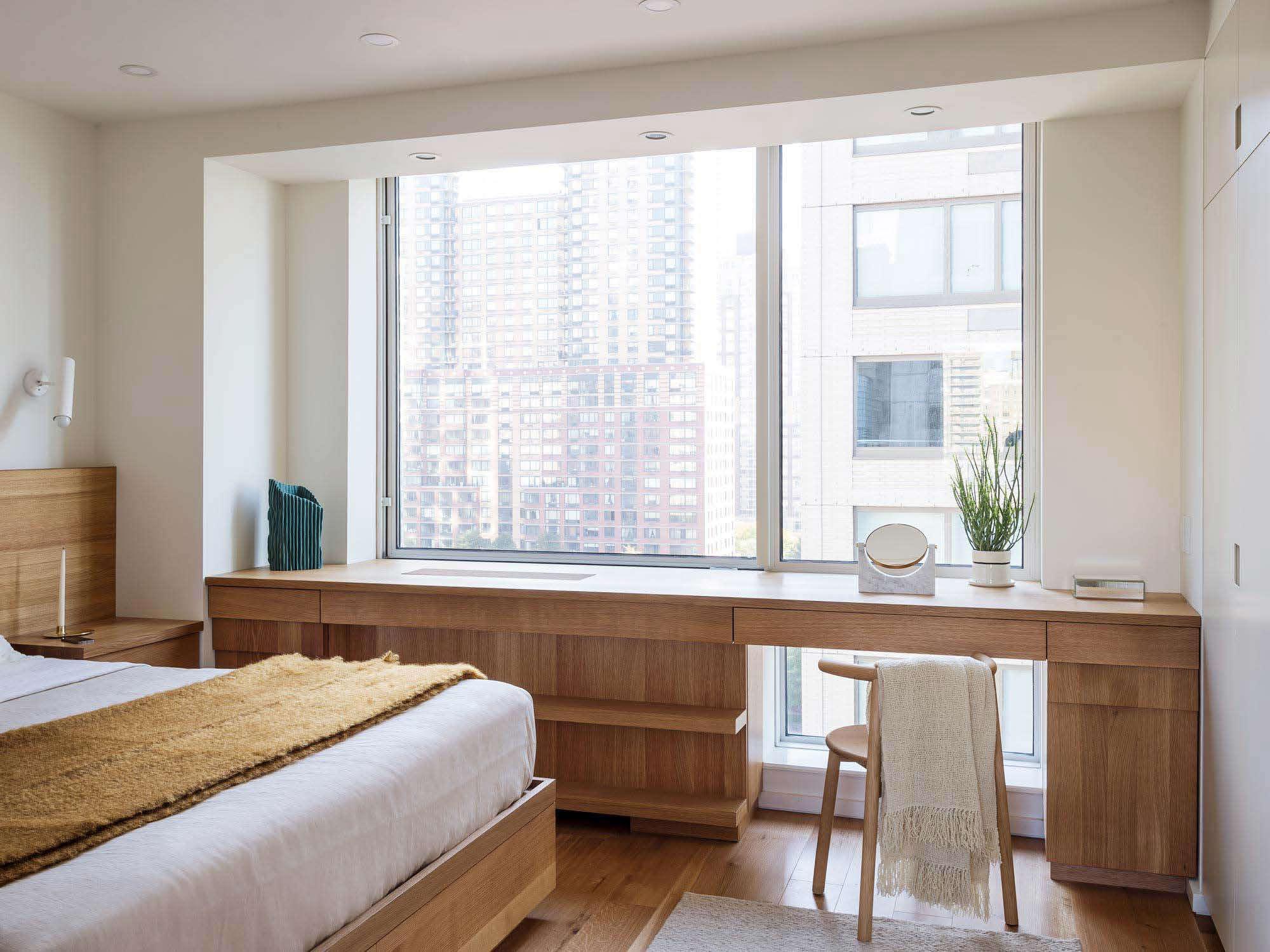 Workstead-design bedroom with custom oak vanity/desk