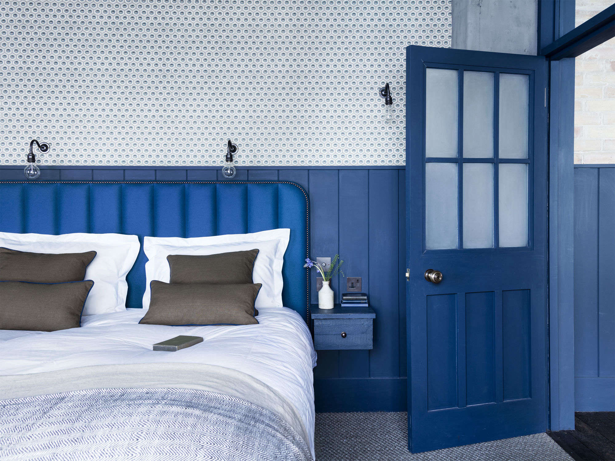 Steal This Look: A Bright Blue Bedroom in a London Loft - Remodelista