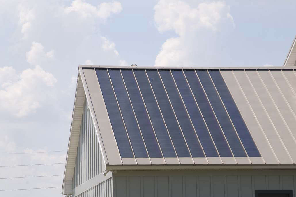 building integrated solar metal roofing