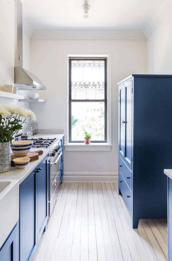 Based in North Dakota, Scherr's makes its own kitchen cabinets as well as just cabinet and drawer fronts for Ikea's Akurum and Sektion kitchen lines. In this blue kitchen featured in Before and After: A Buzzfeed Founder's Renovated Rowhouse, Budget Edition, Scherr's provided both the larder and the cabinet fronts.