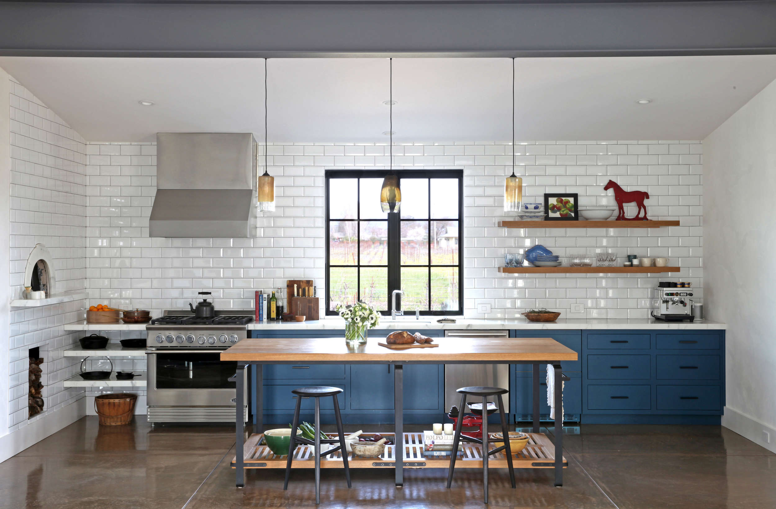 Tile Flooring Behing Kitchen Island