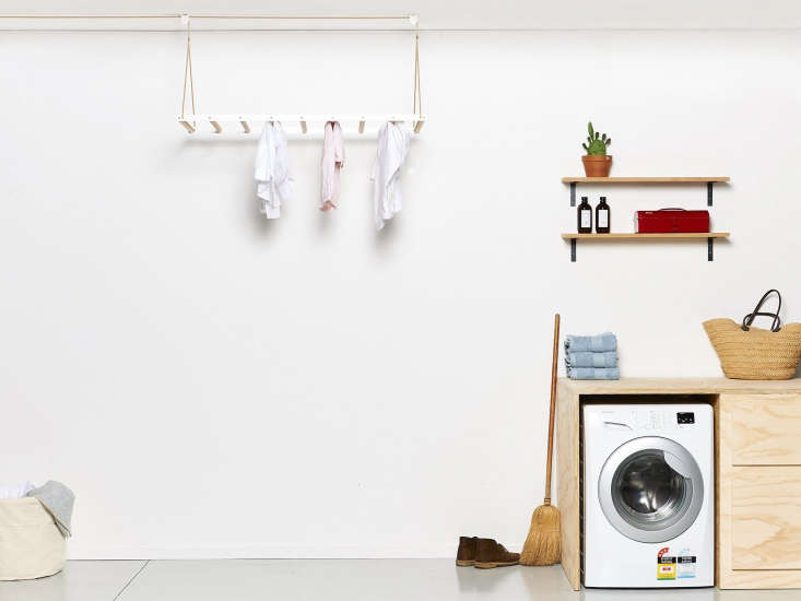 George and Willy Laundry Rack in White Laundry Room