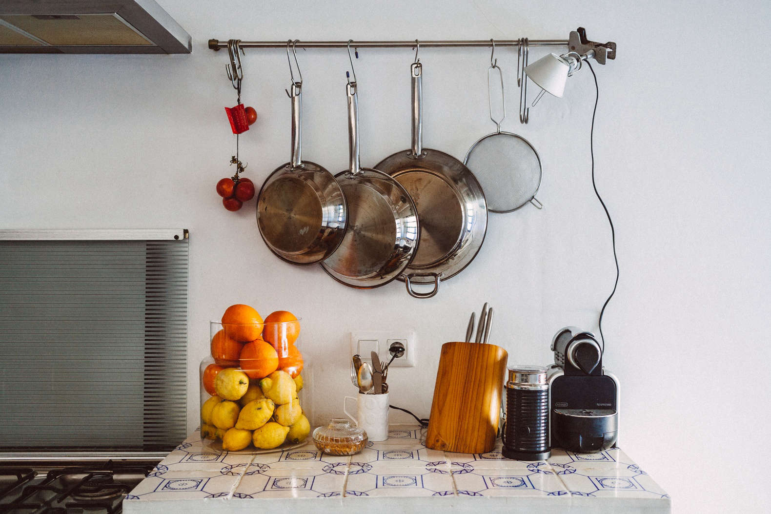 Ikea hanging rail at Townhouse A, a kitchen design by Quintana Partners