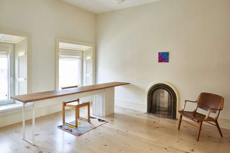 Reclaimed New Face Heart Pine flooring in a Carroll Gardens home remodeled by architect Louis Mackall.