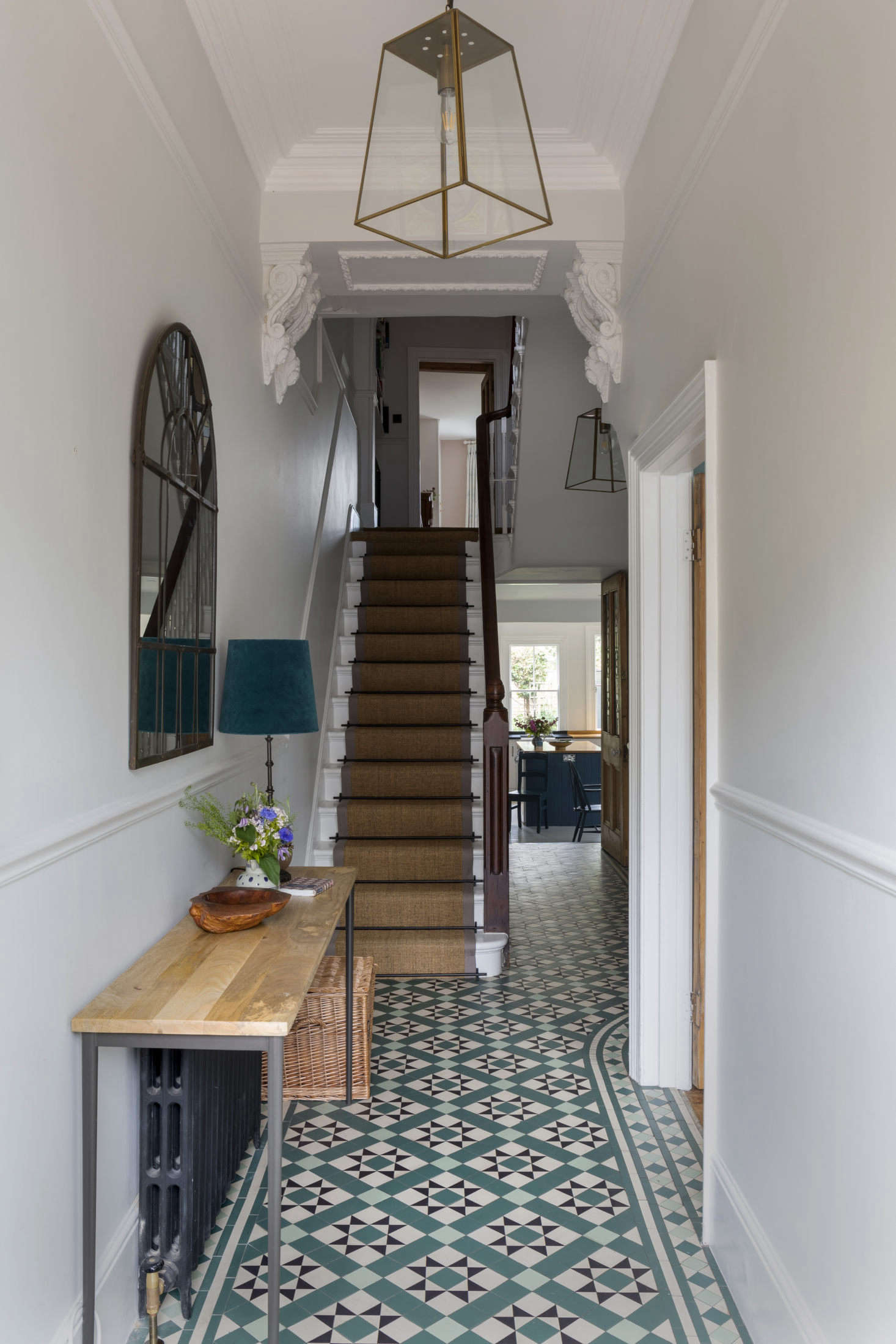 Entrance hallway in this Victorian family home, London
