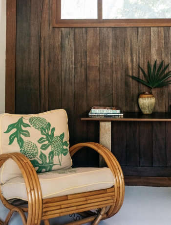 Hawaii Carriage House Reading Chair Wood Paneling
