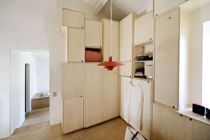 Birch plywood closet. LSL Architects' refurbished 18th century farmhouse Les Baux de Provence. Katrin Vierkant photo.