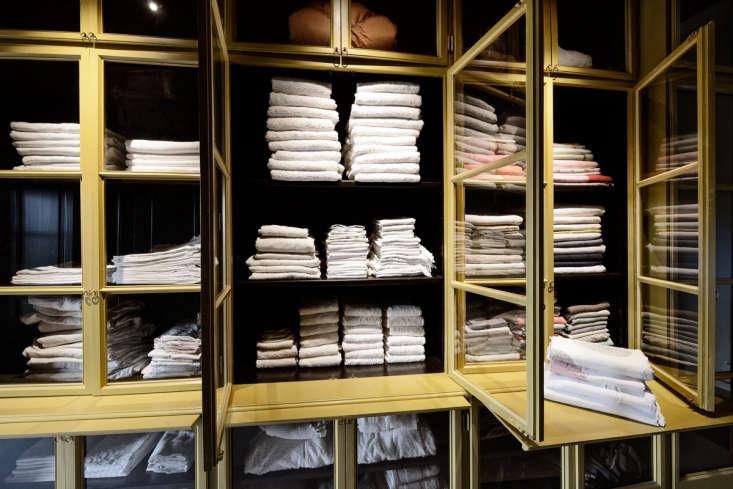 Luxe linen closet. LSL Architects' refurbished 18th century farmhouse Les Baux de Provence. Katrin Vierkrant photo.