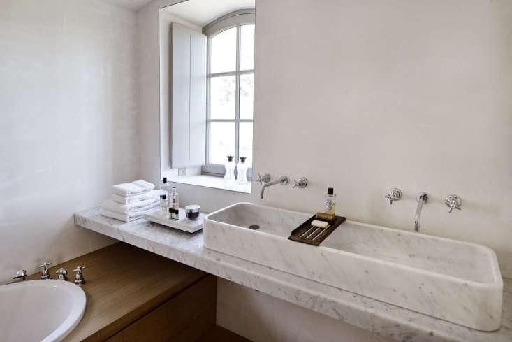 Marble double trough sink. LSL Architects' refurbished 18th century farmhouse Les Baux de Provence. Katrin Vierkrant photo.