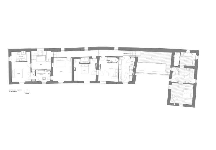 LSL Architects floor plan, first floor, Les Baux de Provence, a remodeled 18th-century mas in Provence.