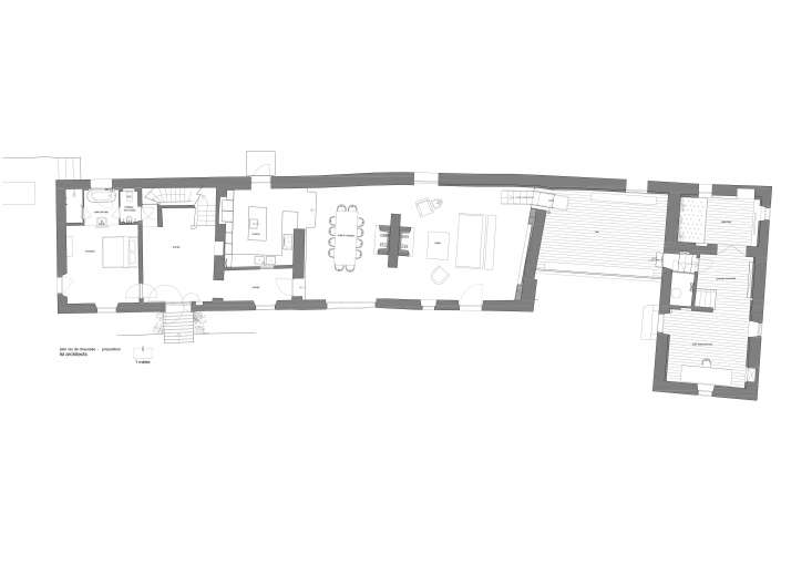LSL Architects floor plan, ground floor, Les Baux de Provence, a remodeled 18th-century mas in Provence.