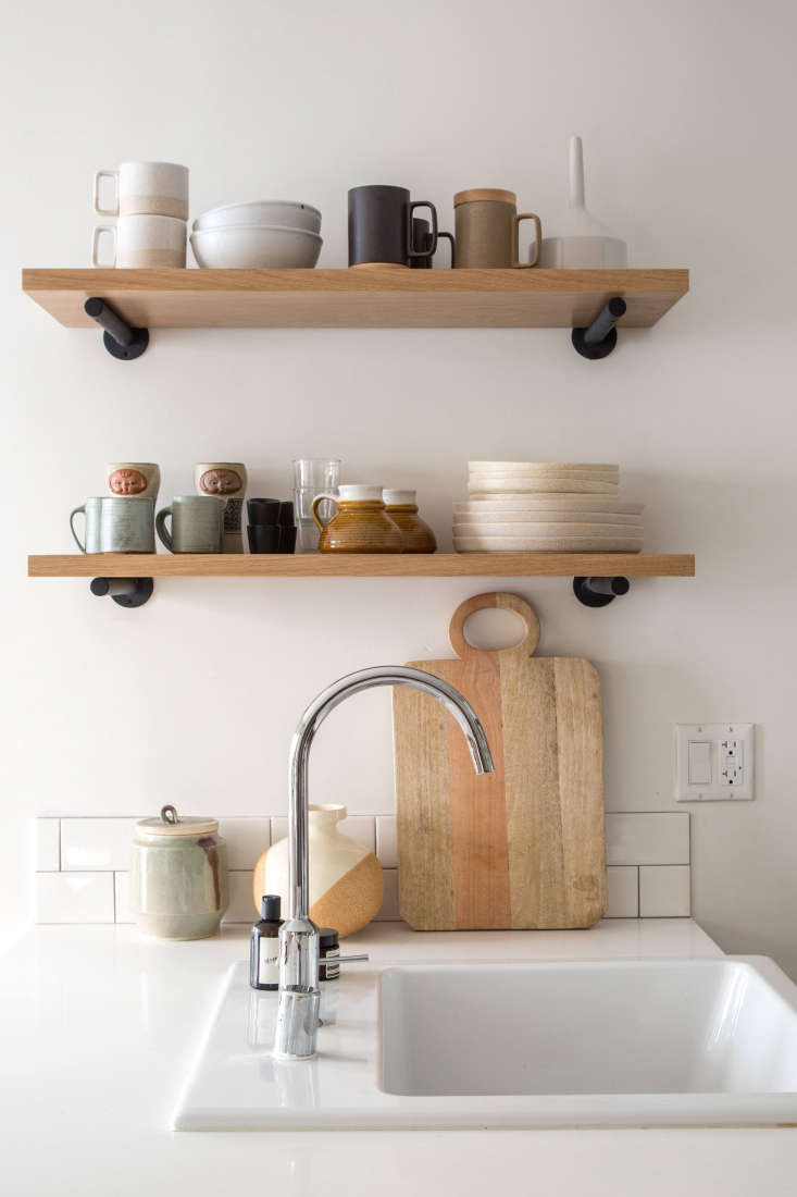 A single-bowl sink fits the small-space kitchen of an LA apartment; see The LA Rental, Upgraded: Designer Paige Geffen's 500-Square-Foot Challenge.