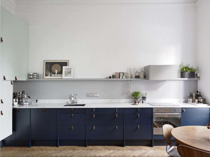 A kitchen in Sweden with a small-scale electric range. See Trend Alert: The Cult of the Blue Kitchen, 10 Favorites; photograph via Swedish real estate site Entrance.