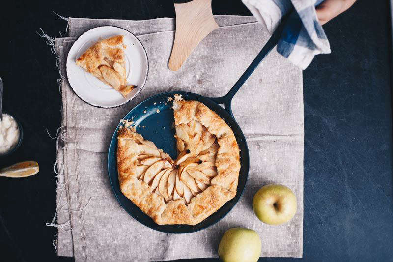blanc creatives cast iron skillet with apple galette